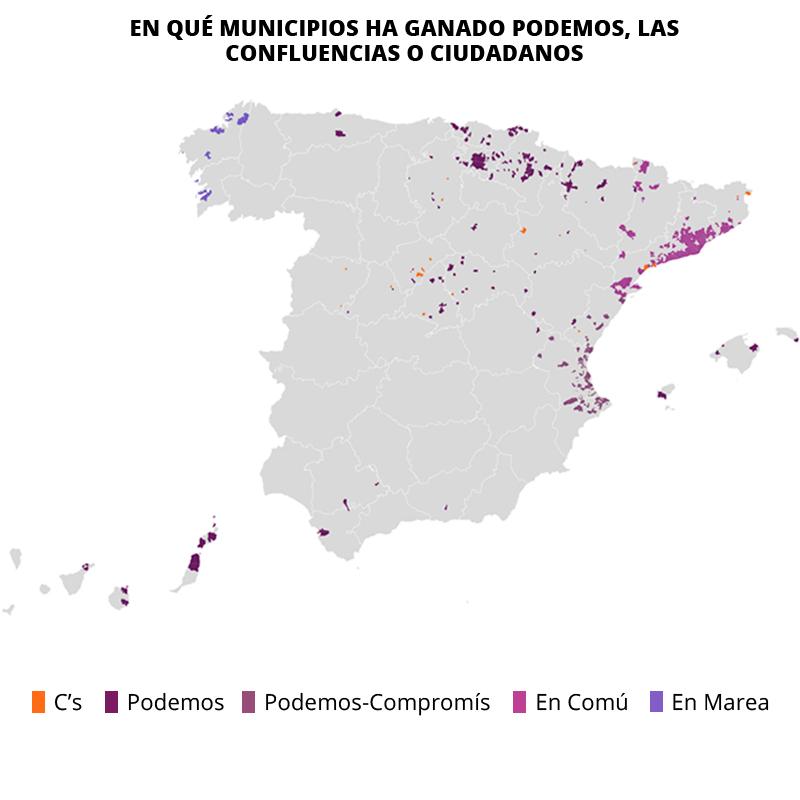 Los sitios donde sí ganaron Podemos y Ciudadanos