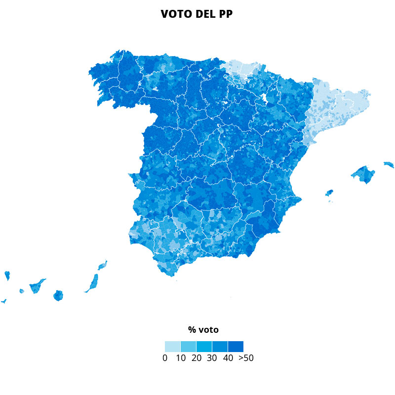 El PP vence en el centro de España y se vacía en Cataluña y País Vasco