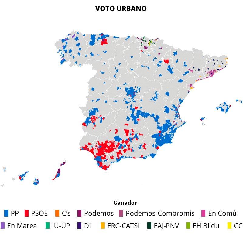 Podemos y Ciudadanos, fuertes en el voto urbano